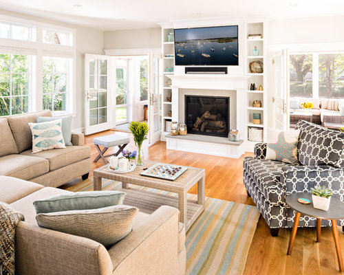 Inspiration For A Beach Style Light Wood Floor And Beige Floor Living Room  Remodel In Boston