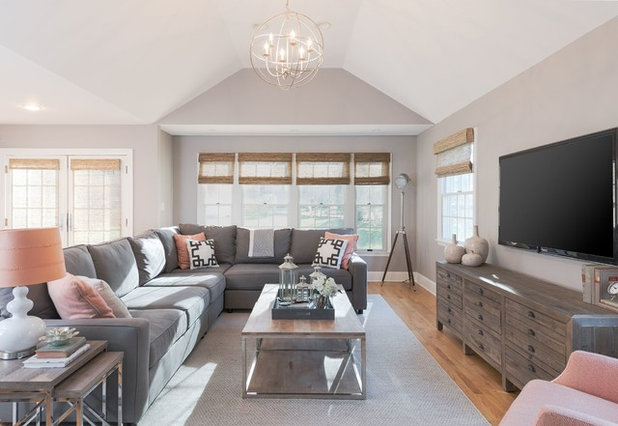Transitional Family Room by Cory Connor Designs