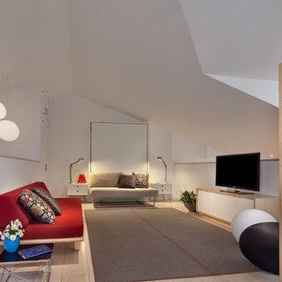 Стильный дизайн: гостиная комната в современном стиле с белыми стенами - последний тренд