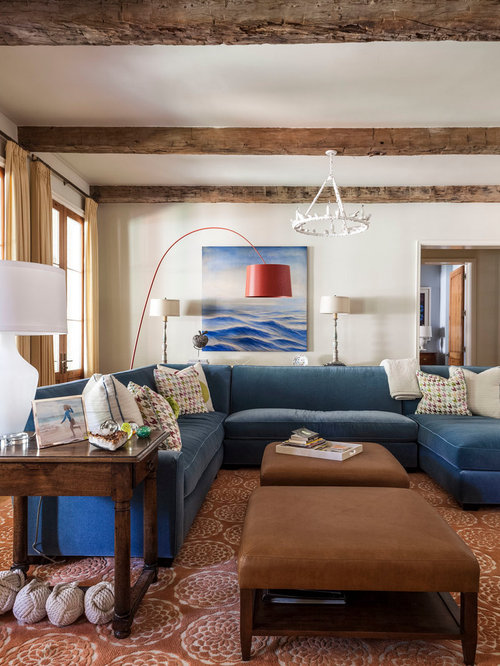 Inspiration for a transitional open concept family room remodel in Dallas with beige walls : denim sectional - Sectionals, Sofas & Couches
