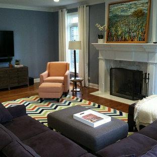 シカゴの大きいエクレクティックスタイルのおしゃれなファミリールーム (青い壁、無垢フローリング、標準型暖炉、漆喰の暖炉まわり、壁掛け型テレビ) の写真