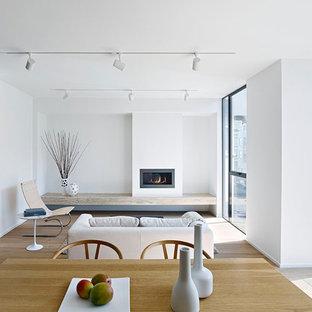 Modelo de sala de estar abierta, contemporánea, pequeña, con paredes blancas, suelo de madera clara, chimenea lineal y marco de chimenea de yeso