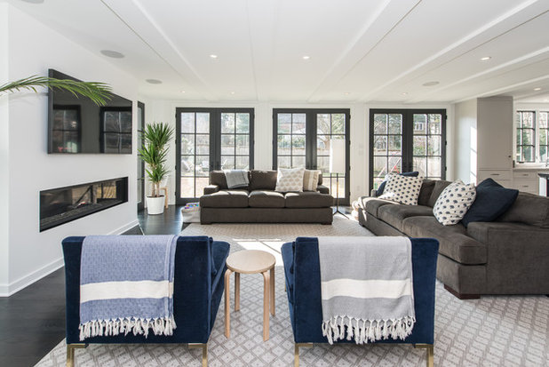 Transitional Family Room by FineCraft Contractors, Inc.