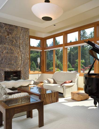 Contemporary Family Room by Alan Mascord Design Associates Inc