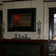 Eclectic Family Room Christmas mantel 2009
