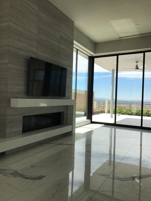 Beautiful Mittelgroße, Abgetrennte Moderne Wohnzimmer Ideen Mit Grauer Wandfarbe,  Marmorboden, Gaskamin, Gefliestem