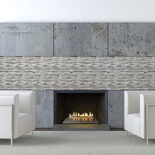 サクラメントの大きいコンテンポラリースタイルのおしゃれなファミリールーム (白い壁、濃色無垢フローリング、標準型暖炉、コンクリートの暖炉まわり) の写真
