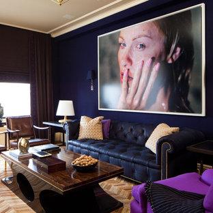 ニューヨークのコンテンポラリースタイルのおしゃれなファミリールーム (青い壁) の写真