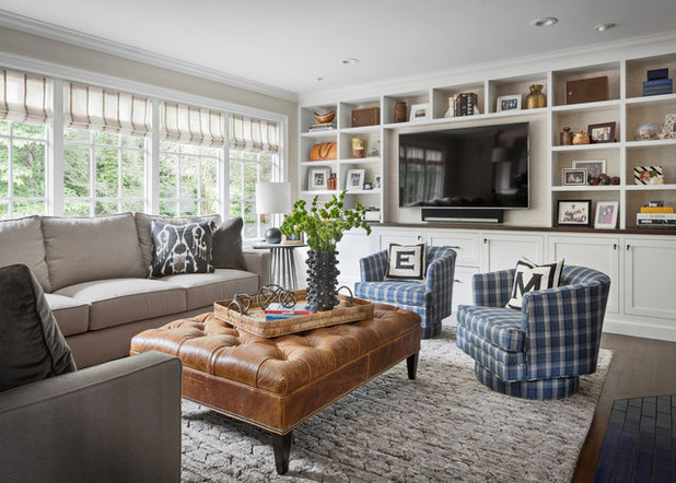 Transitional Family Room by Studio Aubergine Interior Design