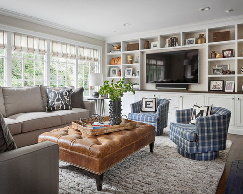 Example Of A Transitional Dark Wood Floor And Brown Floor Family Room Design  In New York