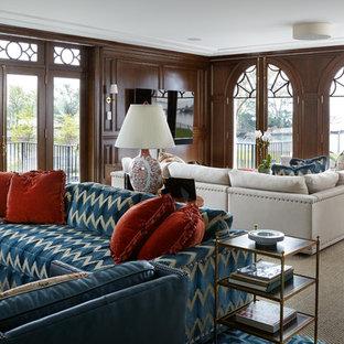 Salle de séjour de luxe avec un mur marron : Photos et idées ...