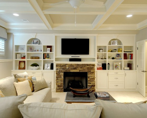 Stacked stone fireplaces for today's homes. Built Ins Around Fireplace | Houzz