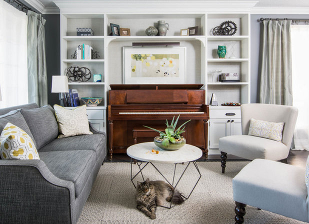 Transitional Family Room by Services Rendered Interior Design