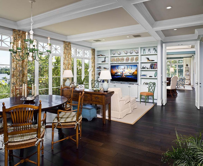 Tropical Family Room by Clifford M. Scholz Architects Inc.