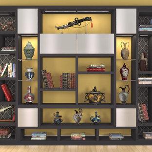 Diseño de sala de estar abierta, actual, pequeña