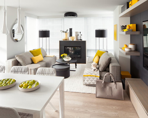 Inspiration For A Small Scandinavian Open Concept Light Wood Floor And Beige Family Room Remodel