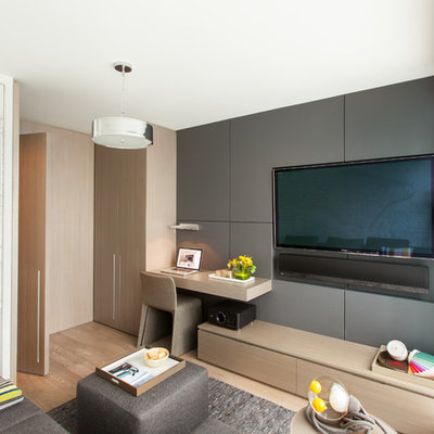 Small trendy enclosed light wood floor family room photo in Vancouver with gray walls and a media wall
