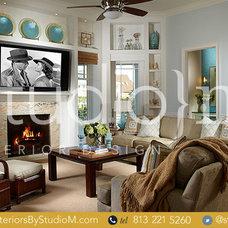 Tropical Family Room by Studio M Interior Design