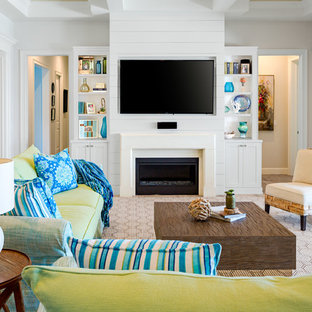 Example Of A Mid Sized Coastal Open Concept Light Wood Floor And Beige Family