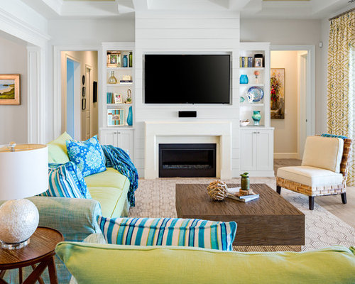 Example Of A Mid Sized Coastal Open Concept Light Wood Floor And Beige  Floor Family Part 96
