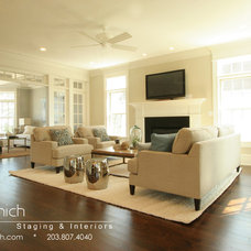 Beach Style Family Room by Birgit Anich Staging & Interiors