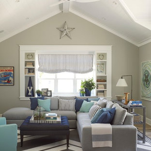 Coastal family room photo in San Diego with gray walls