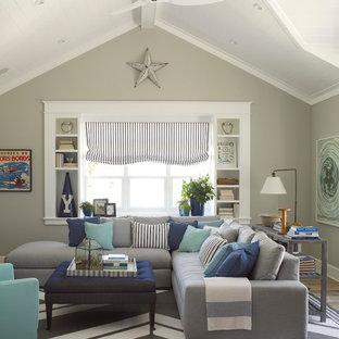Modelo de sala de estar marinera con paredes grises