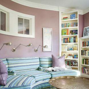 Inspiration for a timeless enclosed family room remodel in Chicago with purple walls