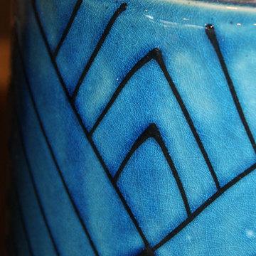 Cobalt Blue Glazed Urn