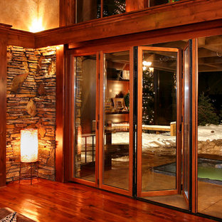 Example of a mountain style family room design in Minneapolis