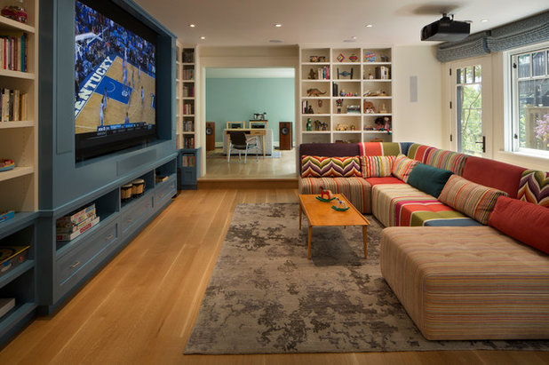 Transitional Family Room by Jeff King & Company