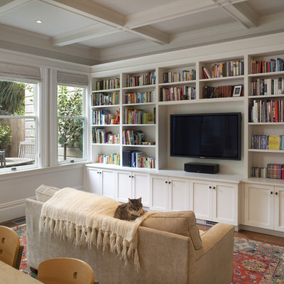 Elegant open concept family room library photo in San Francisco with no fireplace and a media wall