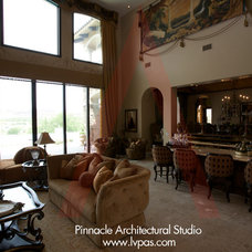 Mediterranean Family Room by Pinnacle Architectural Studio