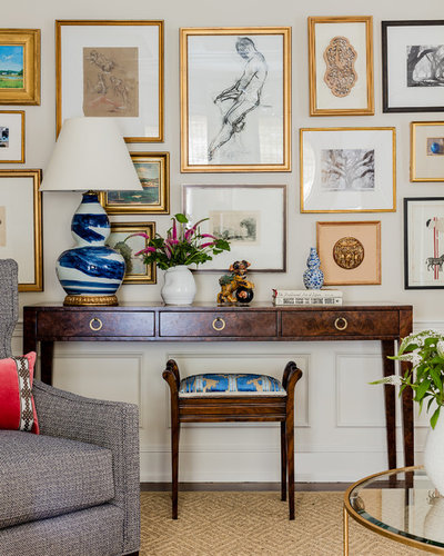 Transitional Family Room by Katie Rosenfeld Design