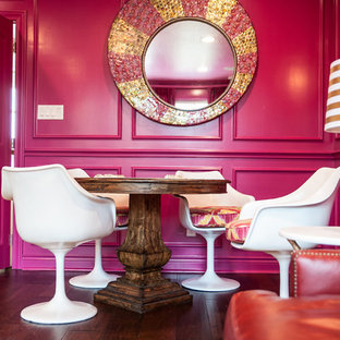 Large transitional enclosed medium tone wood floor game room photo in Austin with pink walls and a wall-mounted tv