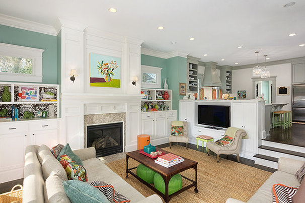 Transitional Family Room by Colordrunk Designs