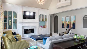 Colorful transitional Family Room
