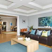 Transitional Family Room by J K Construction