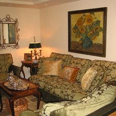 Mediterranean Family Room by Barbara Stock Interior Design