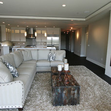 Transitional Family Room by Taylor Design