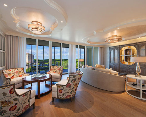 Example Of A Transitional Enclosed Light Wood Floor And Beige Floor Family  Room Design In Miami