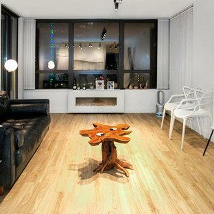Esempio di un soggiorno moderno di medie dimensioni e aperto con pareti bianche, parquet chiaro, TV autoportante, camino lineare Ribbon e cornice del camino in intonaco