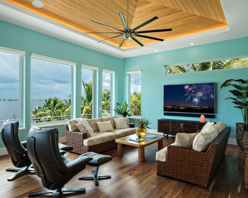 Family Room   Tropical Dark Wood Floor And Brown Floor Family Room Idea In  Miami With
