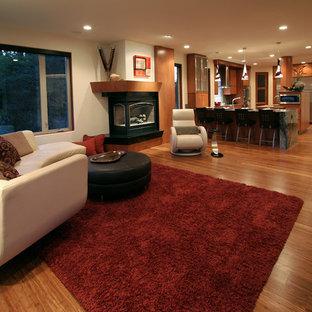 Mittelgroßes, Fernseherloses, Offenes Modernes Wohnzimmer mit weißer Wandfarbe, braunem Holzboden, Kamin und verputztem Kaminsims in Seattle