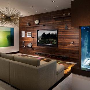 Family room - contemporary concrete floor family room idea in Miami