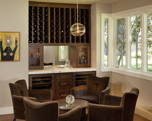 Inspiration For A Contemporary Family Room Remodel In San Francisco With Bar And Beige Walls