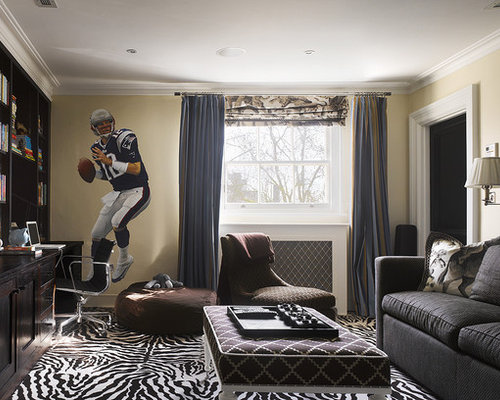 Example Of A Trendy Enclosed Family Room Design In Philadelphia With Beige  Walls, Carpet And
