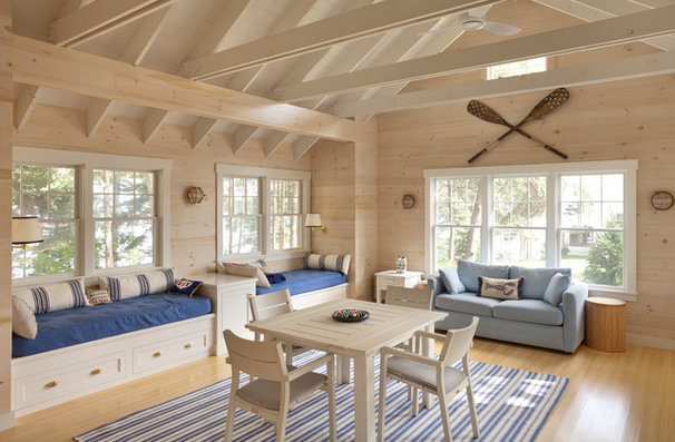 Beach Style Family Room Contemporary Family Room