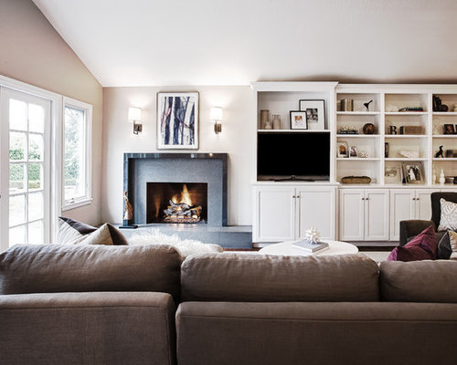 Example Of A Large Trendy Open Concept Family Room Design In San Francisco With Standard