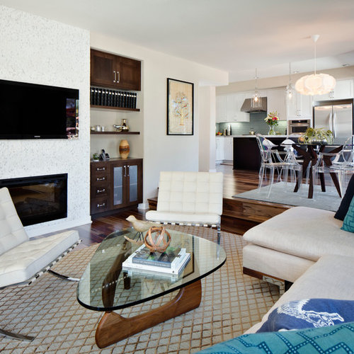 Trendy Family Room Photo In San Diego With A Tile Fireplace